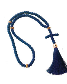 Satin prayer rope 100 knots blue