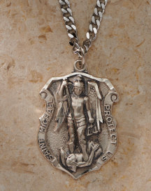 St Michael Badge Pendant - Silver