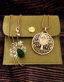 Tree of Life Cross Pendant - Brass