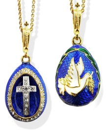 Two Sided Dove and Cross Blue Pendant