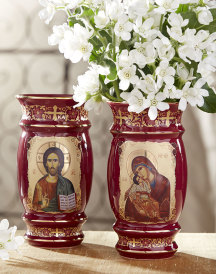 Two-Sided Greek Red Flower Vase