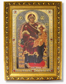 Virgin Enthroned Gold Framed Icon with Crystals