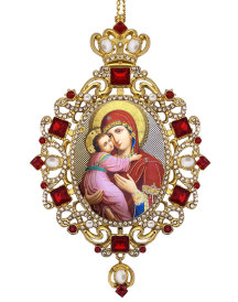 Virgin Mary Red Crystal Ornament