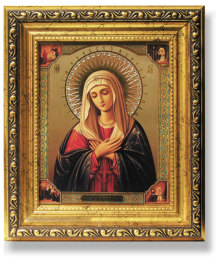 Virgin of Humility Gold Framed Icon with Crystals
