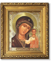 Virgin of Kazan icon Gold-Framed Icon with Crystals