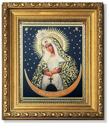 Virgin of Ostrabrama Gold Framed Icon with Crystals