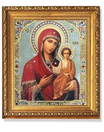 Virgin of Smolensk Gold Framed Icon with Crystals