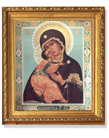 Virgin of Vladimir Gold Framed Icon with Crystals