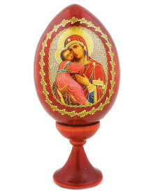 Wooden Egg - Our Lady of Vladimir