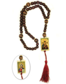 Wooden Rosary with Reversible Icon Center