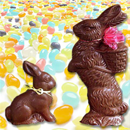 Chocolate Bunnies Filled With Jelly Beans