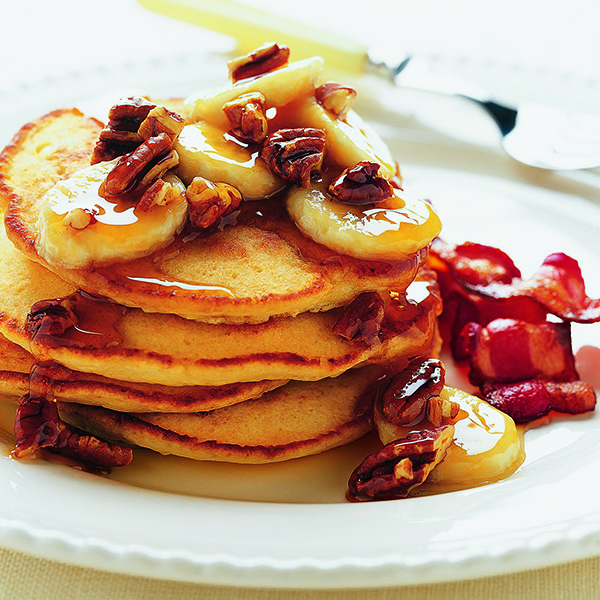 Ricotta Pancakes with Banana Pecan Syrup