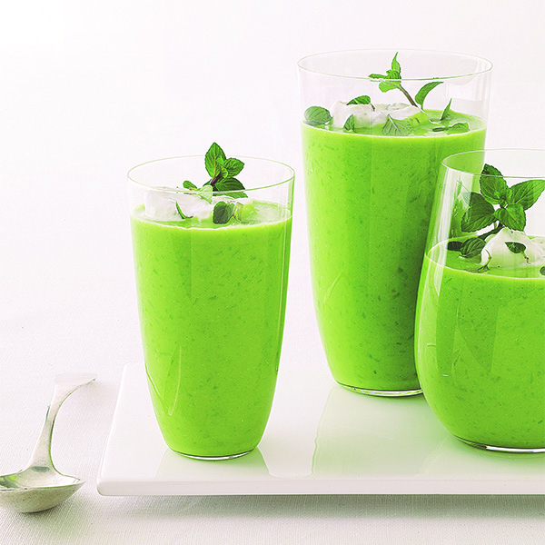 Chilled Pea Soup with Minted Mascarpone