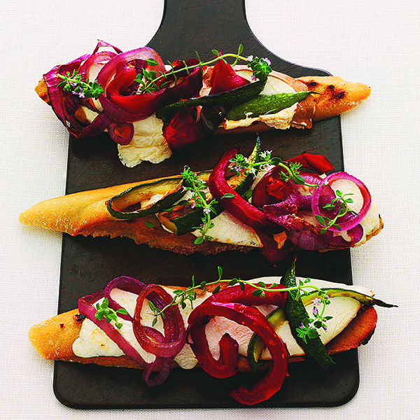 Crostini with Roasted Vegetables and Smoked Mozzarella