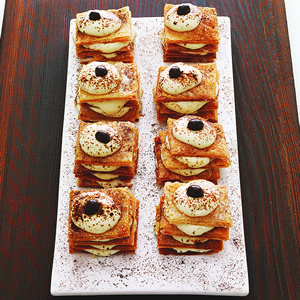 Honey Ricotta Napoleons wvith Espresso Dust