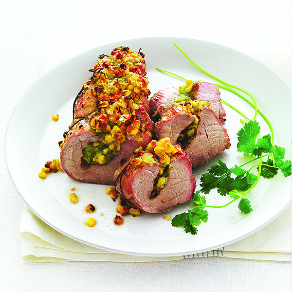 Pork Tenderloin with Smoked Cheddar-Tortilla Stuffing