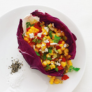 Corn Salad in Radicchio Cups