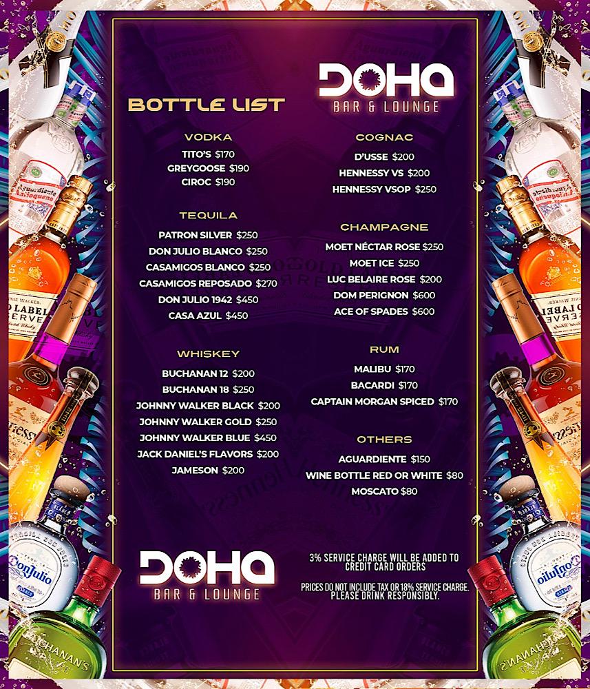 Doha Bar & Lounge Bottle Service