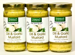 Norman Bishop Dill & Garlic Mustard (7 Oz) 3-Pack