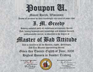 Poupon U Diploma: MBA Degree