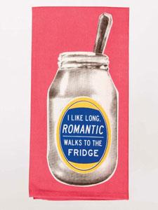 Blue Q I Like Long Romantic Walks To The Fridge Dish Towel