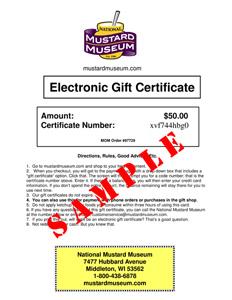 Mustard Museum Online Gift Certificate - $50