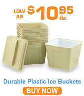 Durable Plastic Ice Buckets & Room Trays