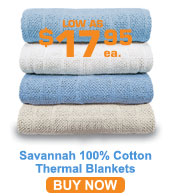 Savannah 100% Cotton Thermal Blankets