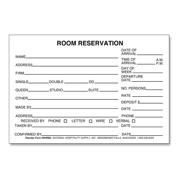 Room reservation form 4 x 6 500 pk hotel forms national for Accommodation booking form template