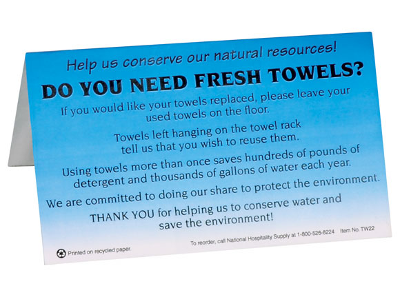 Restroom Furniture Hotel Towels - Fresh Towels? Table Tents 100/pk.