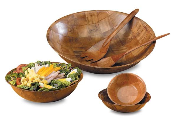 Woven Wood Salad Bowls