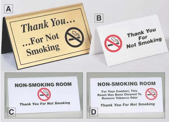 No Smoking Table Signs For Hotels - Table tent signs
