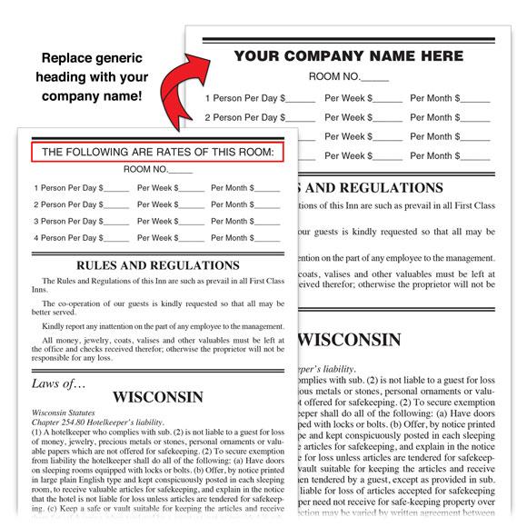 Hotel Motel Registration Cards & Forms | National Hospitality Supply