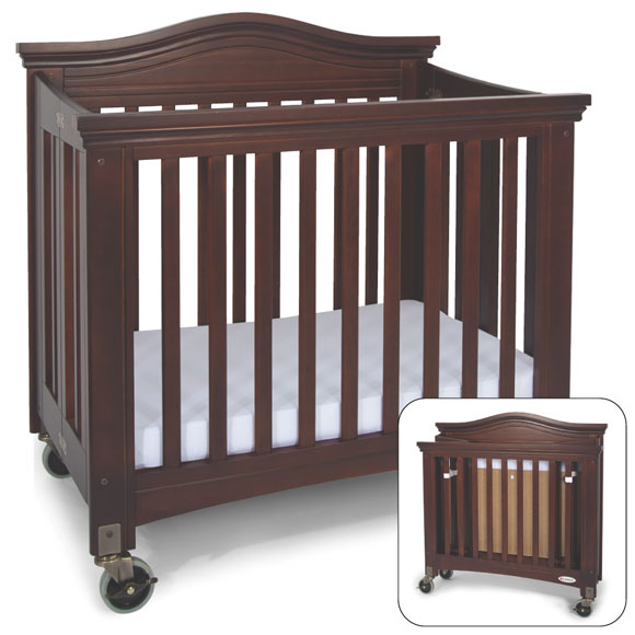 Folding crib 2 in 1 folding birch portable crib baby for Double decker crib