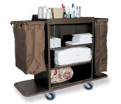 High Capacity Deluxe Metal Housekeeping Cart