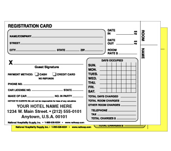 Hotel motel registration cards forms national hospitality supply 4 14x 5 34 2 thecheapjerseys Gallery