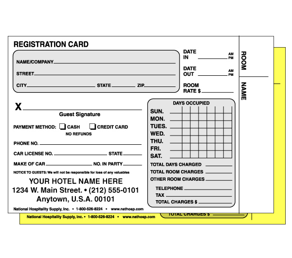 "4-1/4""x 5-3/4""; 2-part Carbonless Reg. Card; 500/pk; w/Custom Imprint"