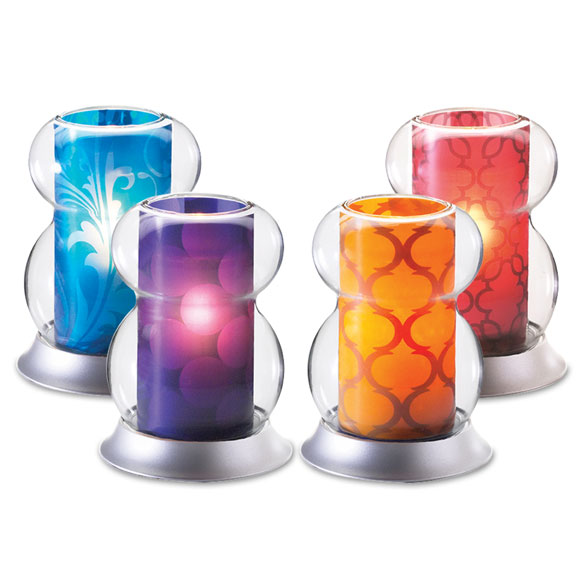 Hurricane Candle Lamp w/ variable Color Inserts