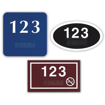 Deluxe ADA Braille Door Number Plates