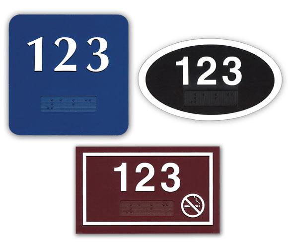 Deluxe ADA Braille Door Number Plates