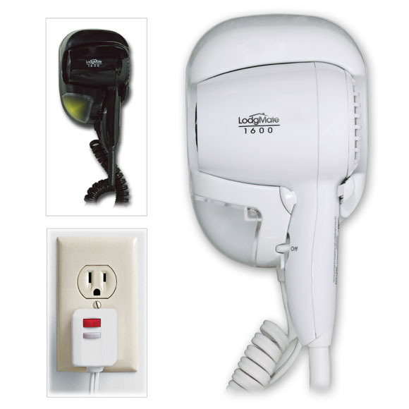 Lodgmate 1600w Wall Mounted Hair Dryer W Night Light