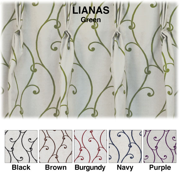 100% Polyester Custom Draperies; Lianas