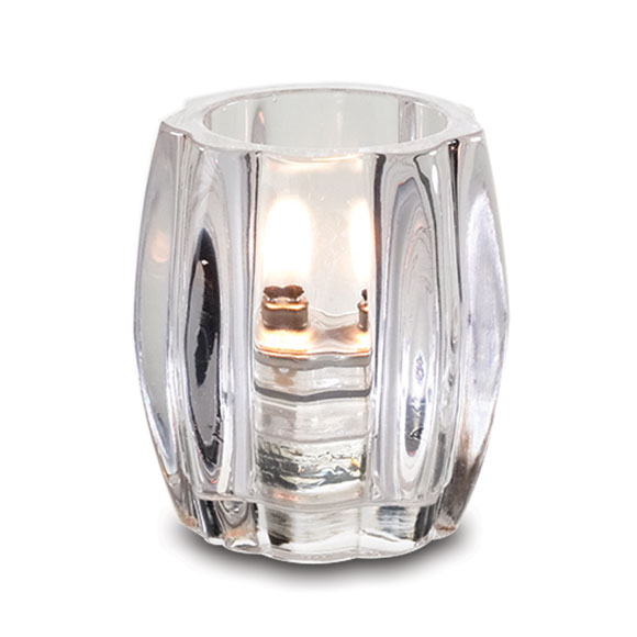 Clear Ribbed Glass Candle Lamp
