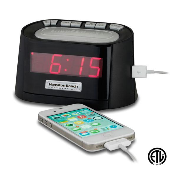 USB Port Clock Radio: Black