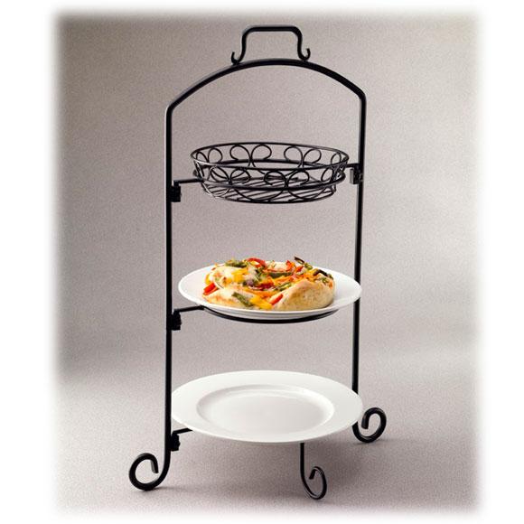 Round Wire Buffet Servers w/Platters, Baskets, Plates
