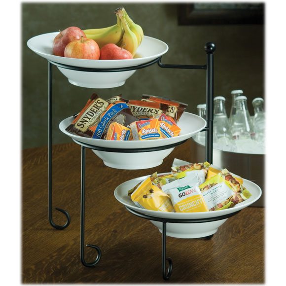 """3-Tier Foldable Stand w/ 3 12""""Dia bowls"""