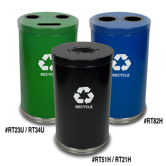 24 Gallon Recycling Unit; 3 Openings & 3 Liners