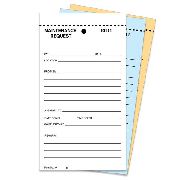 3-part Maintenance Request Form 250/pk