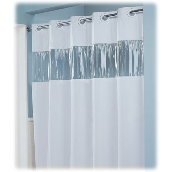 Lodgmate Vision Pre Hooked Vinyl Curtain 8 Ga 71x74 Hotel Shower Curtains National Hospitality Supply