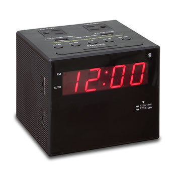 Power Station Alarm Clock Radio w/ USB, Bluetooth & Electrical Outlets